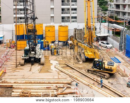 Construction site and foundation earthwork., Construction field