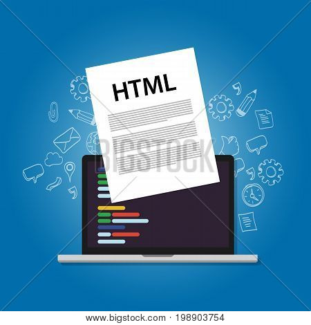 HTML Hyper Text Markup Language web programming coding screen laptop technology website design front site layout vector