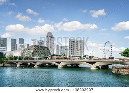 Scenic Bridge Over The Mouth Of The Singapore River