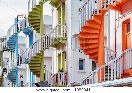 Scenic Colorful Exterior Spiral Staircases In Singapore