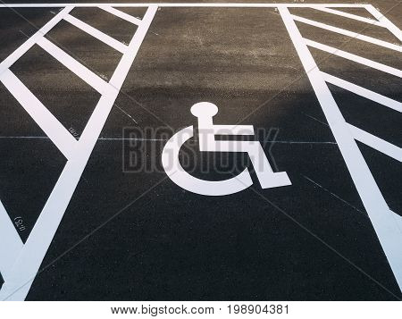 Disability wheelchair sign Priority Car park outdoor Parking lot