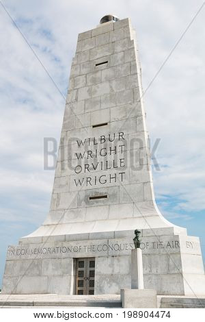 KILL DEVIL HILLS, NORTH CAROLINA - JULY 14, 2017:  Wright Brothers National Memorial, which commemorates the first successful, sustained, powered flights in a heavier-than-air machine.