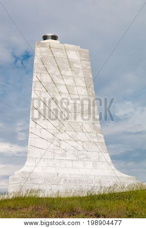 KILL DEVIL HILLS, NORTH CAROLINA - JULY 14, 2017:  Architectural detail of the granite tower designed by Rodgers and Poor, a New York City architectural firm, at the Wright Brothers National Memorial.