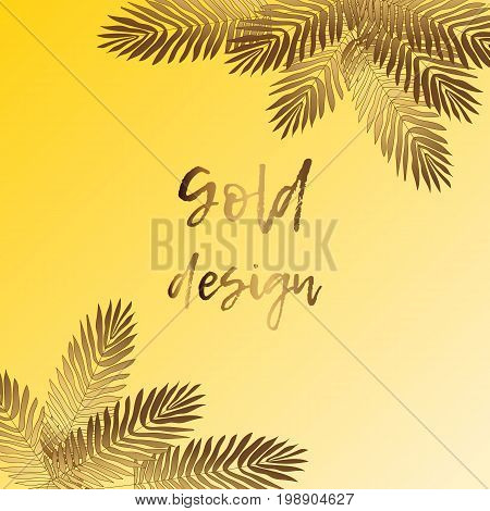 Gold Palm leaves pattern yellow background. Summer gold tropic palm. Golden palm summer tropic leaves