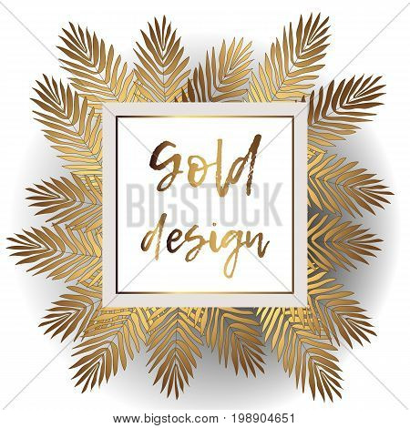 Gold Palm leaves pattern white background. Summer gold tropic palm. Golden palm summer tropic leaves. Square frame.