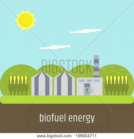 Flat design. Picture on the topic of clean fuel. Biofuel plant