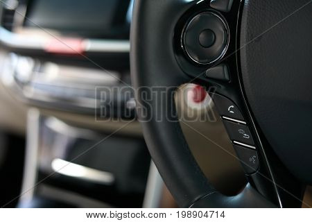 Technology Driving Car With Wireless Speaker Mobile Phone Control Panel Mode On Steering Wheel