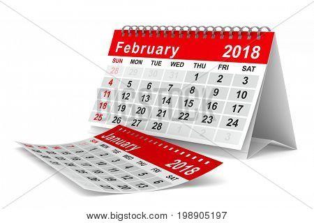 2018 year calendar. February. Isolated 3D illustration