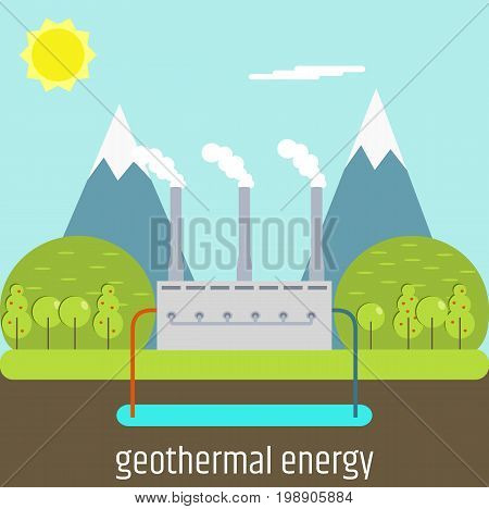 Flat design. A picture on the topic of clean energy. Geothermal energy. vector illustration
