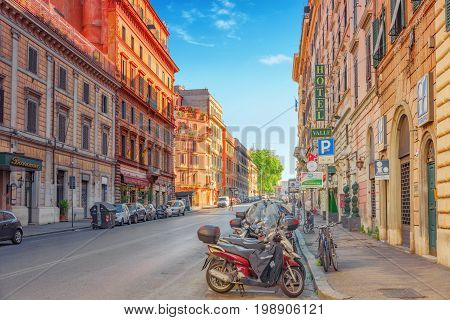 Rome, Italy- May 08, 2017:  Beautiful Landscape  Urban And Historical View Of The Rome, Street, Peop