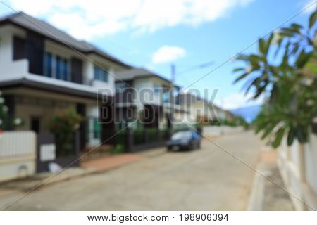 Residential House Building Village Suburb, Image Blur Background