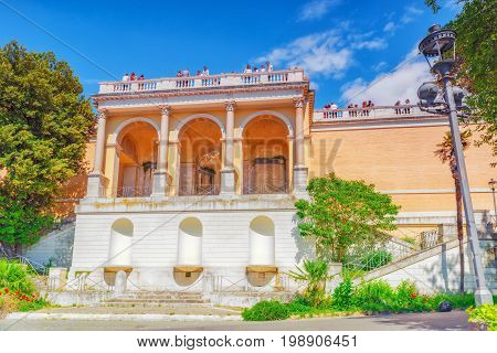 Rome, Italy - May 08,2017 : Terrace De Pincio (terrazza Del Pincio) Near People Square (piazza Del P