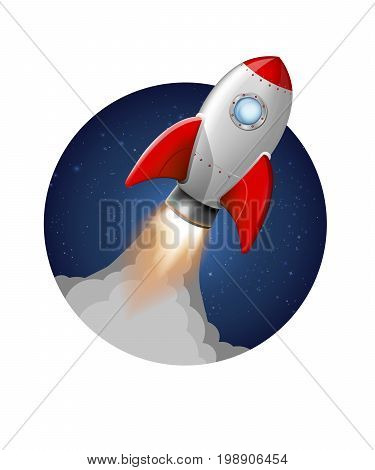 Cartoon rocket space ship take off, isolated vector illustration. Simple retro spaceship icon. startup