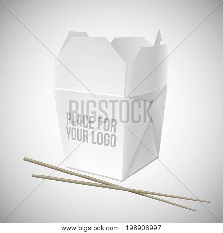 Vector illustration of a white box for asian food with a place for a logo. White box for noodles with chopsticks