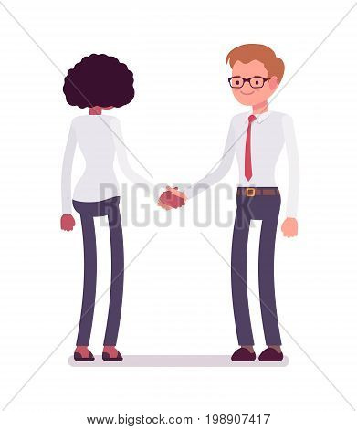 Male and female clerks handshaking. Mutual exchange, effective understanding, reaching agreement. Business communication concept. Vector flat style cartoon illustration, isolated, white background