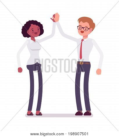 Male and female clerks giving high five. Express enthusiasm, achieve job satisfaction, boosting efficiency. Business communication. Vector flat style cartoon illustration, isolated, white background