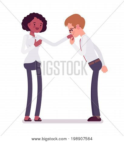 Male clerks hand kiss gesture to female. Making proposal, romantic expression, show feelings. Business communication concept. Vector flat style cartoon illustration, isolated, white background