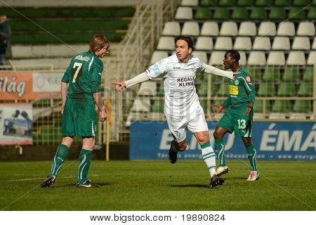 KAPOSVAR, HUNGARY - NOVEMBER 19: Lorant Olah (C) celebrates his goal at a Hungarian National Championship soccer game Kaposvar vs Gyori ETO November 19, 2010 in Kaposvar, Hungary.