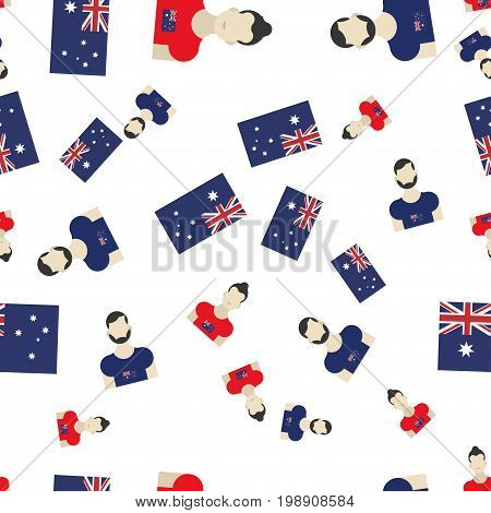 Australian Seamless Pattern With Flag And People. Flat Vector Illustration Eps 10