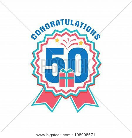 Anniversary fifty years number. 50th years festive Logo and greeting for invitation decor. Flat style vector congratulations isolated on white background. Birthday badge with gift