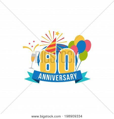 Anniversary eighty years number. 80th years festive Logo and greeting for invitation decor. Flat style vector congratulations isolated on white background. Birthday badge with champagne