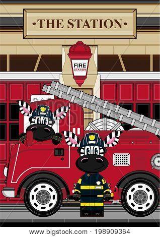 Zebra Fireman Scene
