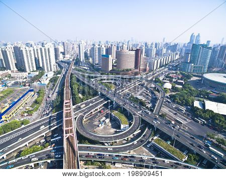 Aerial Photography Bird-eye View Of City Viaduct Bridge Road Landscape