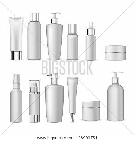 3d white realistic cosmetic package icon set empty tubes on white background vector illustration. Realistic cosmetic bottle mock up set isolated pack on white background. Cosmetic brand template.