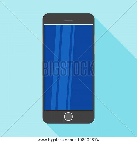 White smartphone in a flat design with long shadow. Smartphone flat icon with blank display. Modern Smartphone symbol. Black mobile smartphone flat design