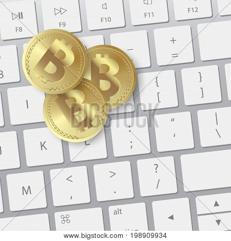 golden bitcoin on keyboard. Digital Bitcoin Golden coin with Bitcoin symbol in electronic environment coins. Golden coin with bitcoin sign on keyboard. Money and finance symbol.