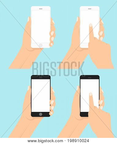 Hand holding smartphone and touching screen Flat vector. Set smartphones in hand with a white clean screen. human hand holding mobile smartphone with blank screen isolated on blue background