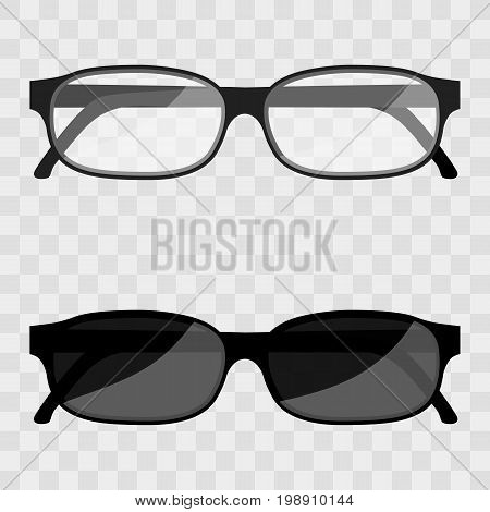 Vector Illustration metal framed geek glasses isolated on a transparent background. Black eye glasses. Spectacles with lens vector illustration. Sun glasses vector. Set of modern fashion glasses.