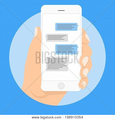 Mobile phone messages, vector illustration. Smart Phone chatting sms template bubbles. Place your own text to the message clouds. Compose dialogues using samples bubbles