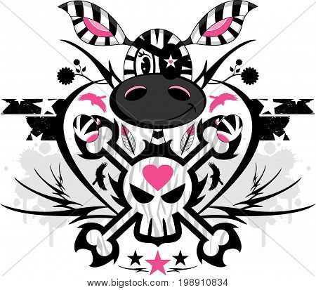 Cute Cartoon Skull and Crossbones Zebra Character