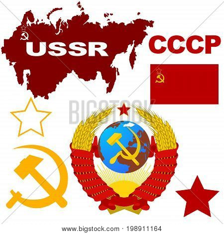 Signs and symbols of the Soviet Union. The inscription of the USSR in Russian is the Union of Soviet Socialist Republics.The illustration on a white background.