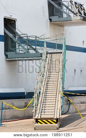 Hull Of A Freight Vessel With Ladder