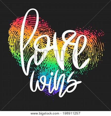 Conceptual poster with hand lettering and fingerprint heart. White handwritten phrase Love Wins and LGBT rainbow thumbprint isolated on black. Vector Romantic illustration for Valentines day, wedding