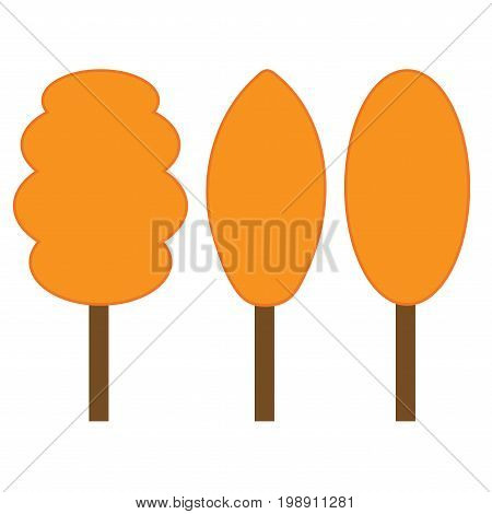 Tree orange sign set. Plane icons isolated on white background. Color nature logo. Autumn wood or garden symbol. Ecology flat silhouette. Hardwood mark. Stock vector illustration