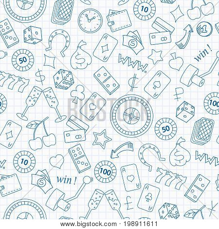 Seamless pattern on the theme of gambling and money blue contour icons on the clean writing-book sheet in a cage