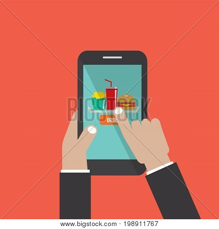 Hand Holding Smartphone With Hamburger French Fries Cola On The Screen Vector Illustration. EPS 10