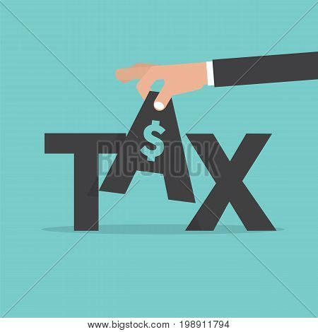 Hand Pick up TAX. Fee Levied Upon Incomes Vector Illustration. EPS 10