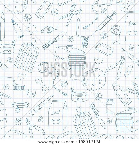 Seamless background on the topic of pet care pet shop simple contour icons blue contour icons on the clean writing-book sheet in a cage