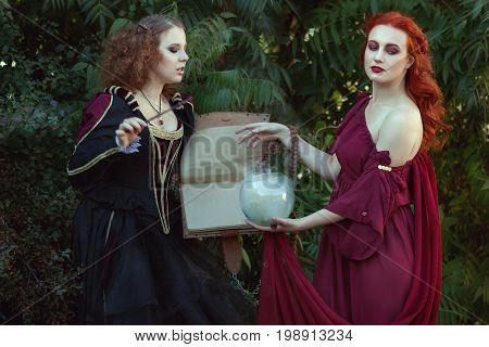 Women read a magic book and utter spells they are witches.