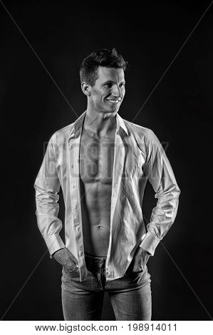 Guy With Bare Chest In Jeans And Shirt.