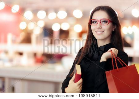 Smiling Girl Wearing  Glasses Shopping in a Bookstore