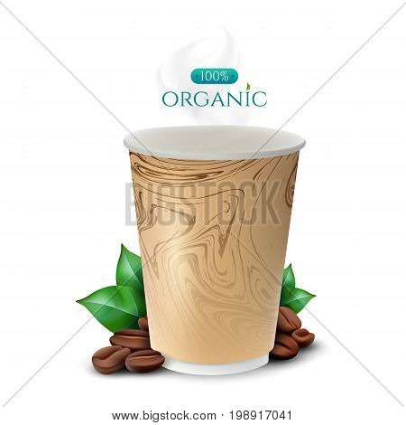 Coffee paper cup with coffee beans and leafs. Vector illustration isolated on white background