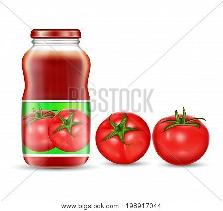 Vector illustration in a realistic style of red tomatoes and jars with tomato juice, ketchup, sauce isolated on white background. Packaging design element, label, template.