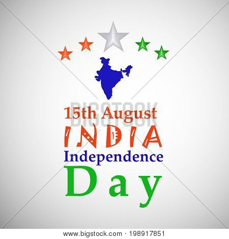 illustration of 15th August India Independence Day text with India map and stars on the occasion of India Independence Day