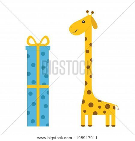 Giraffe with spot. Long neck. Cute cartoon character. Giftbox and bow. Happy Birthday greeting card. Baby collection. White background. Isolated. Flat design. Vector illustration