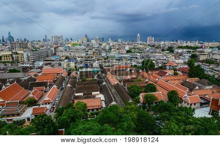 Roof Top Of Buddhist Temple In Bangkok, Thailand